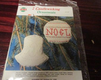 Candlewick Ornament Kit Bell and Round Ornament NMI 357 Candlewicking Kit