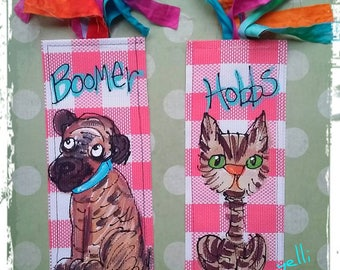 Custom Pet from Photo Painted Bookmark Made to Order Any Colors YelliKelli