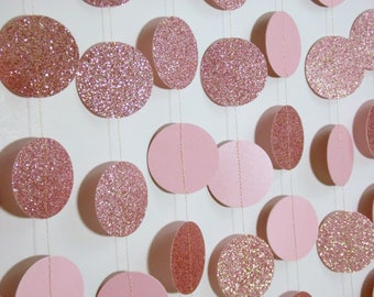 Pink Glitter Circle Garland, 8' Paper Dot Garland, Baby Shower Decoration, Bridal Shower Decor