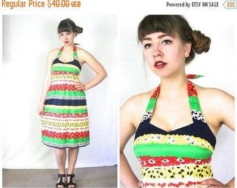 FLASH SALE 60s Striped Halter Dress / Pin-Up Floral Print Bombshell Sundress / Size M Medium