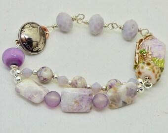 Pastel Bracelet for Rabbit Lover, Bunny Bracelet, Rabbit Jewelry, Purple Bracelet, Art Hare Bracelet, House cuff bracelet, Nature Lover