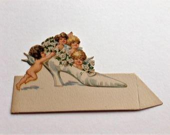 Vintage Bridal Wedding Place Cards Ephemera 1930 Angels Cherubs Stand Up Unused