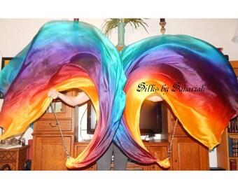 Sahariah's Silk Belly Dance Veil Killer Tornado Poi Voi Set 2 Poi Veils and Set of Poi Chains Flow Art Silks by Sahariah
