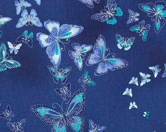 Duchess Floral Butterfly fabric | CM5228-BLUE | Chong-a Hwang | Timeless Treasures