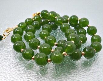 Deep Rich Green Necklace.  Canada Green Jade. Beaded Green Necklace.