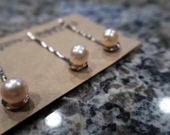 Light Pink Pearl Bobby Pin Set - 3 Pearl Bobby Pins