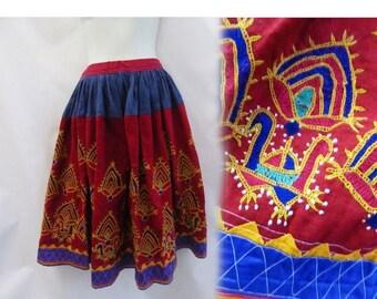 Vintage Skirt Free size L Kashmiri India Ethnic Tribal Hippie Boho Linen