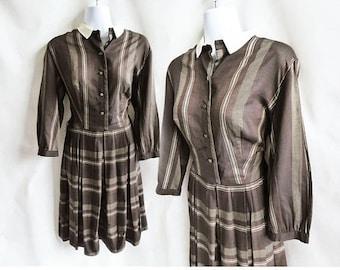 Vintage 50s Dress Size L Brown Stripe Shirtwaist Cotton Boxpleat Rockabilly 60s