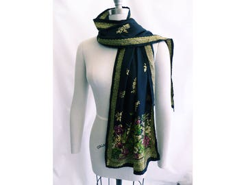 Vintage Scarf Black Silk Stole Smithsonian Institution Gold Floral Baroque