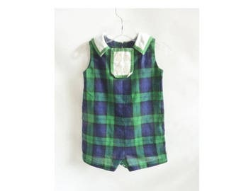 Vintage 50s Girls Romper Dress Blue Green Plaid Cotton Shorts 60s