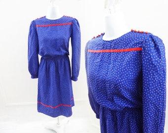 Vintage 70s Dress Size M Navy Blue Red Polka Dot Disco Secretary Vtg 80s Long sl