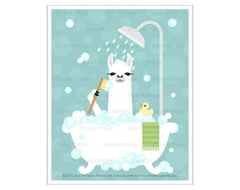 47J Bath Print - Llama in Bubble Bath Wall Art - Bathtub Print - Llama Drawing - Funny Farm Animals - White Llama Print - Art for Children