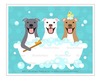 347D - Dog Art Prints - Three Pitbulls in a Bathtub Wall Art - Gray Pitbull Print - White Dog Art - Brown Pit Bull Terrier - Dog Home Decor