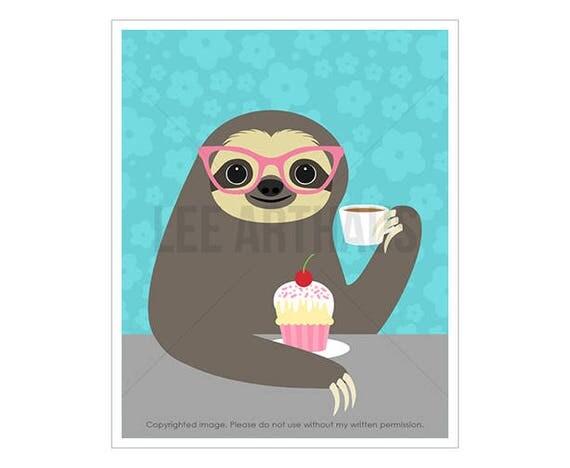 6J Sloth Wall Art - Sloth Eating Cupcake Wall Art - Cupcake Print - Coffee Wall Art - Whimsical Animal Print - Art for Kids - Animal Decor