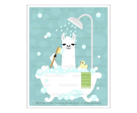 47J Bath Print - Llama in Bubble Bath Wall Art - Bathtub Print - Llama Drawing - Funny Farm Animals - White Llama Print - Art for Children