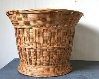 vintage woven bamboo basket - large deep plant basket - boho modern home storage - beige brown
