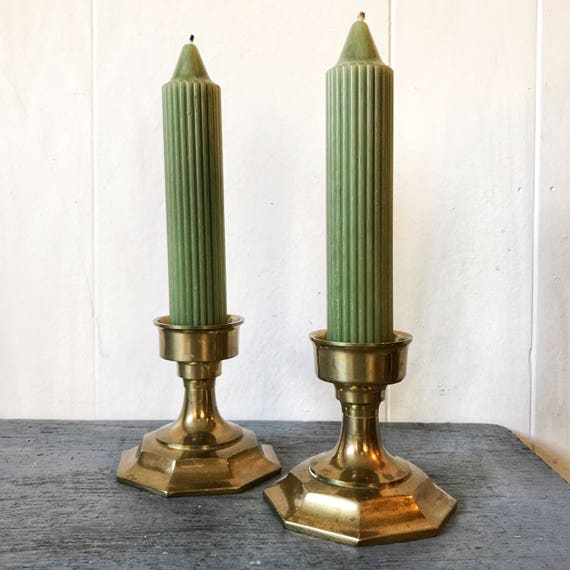 vintage brass candlestick holders - octagonal gold metal - table mantle holiday decor