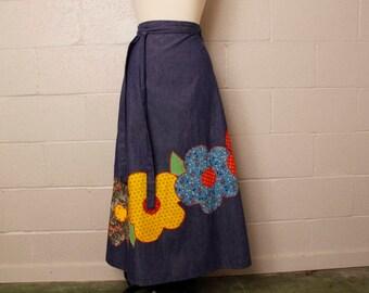 Vintage 1970's denim maxi skirt floral patchwork 28 waist