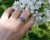 Twig ring - moonstone in silver, sculpted flowers and twigs, limited collection, moonstone ring, blue moonstone, boho, elven, fantasy, twigs