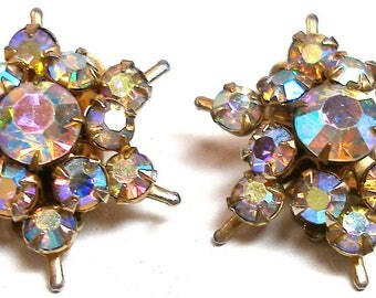 60s Rhinestone earrings, Snowflakes, stars with AB luster, clip-on.