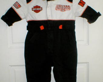 Vintage Harley Davinson Toddler Motorcycle Racing Jumpsuit One Piece Size 12 Months Born To Ride