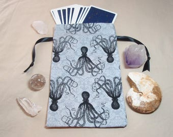 Grey Octopus - Lined Drawstring Tarot Card Deck Pouch