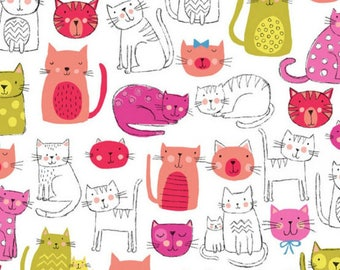 Kitty Cats Pink  - Kitty - Makower UK - Andover Fabric - 100% Quilters Cotton TP1914P