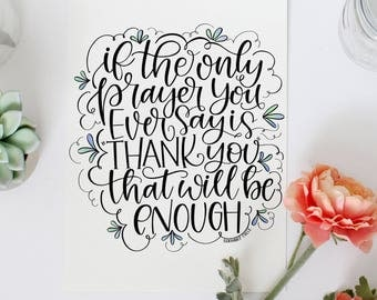 Hand Lettered Art Print Gorgeous Home Decor Instant Download Psalms 55:22