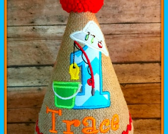 Fishing Birthday Hat, Fishing 1st Birthday, Baby Boy Fishing Hat,  Camping Birthday Hat, Baby Boy Hat, First Birthday Hat