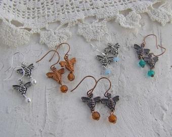 Bee Earrings, Honey Bee Earrings, Dainty Earrings, Bee Jewelry Gift, Gift for Her, Choose Color