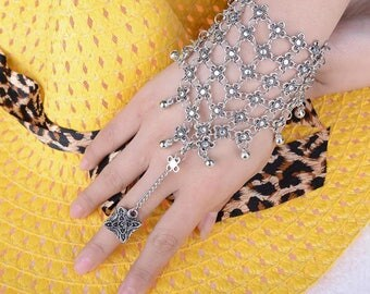 Ball and Chain Ring Hand Harness Bracelet-Ornate Silver Balls and Chains