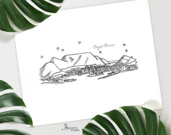 Cape Town, South Africa - Instant Download Printable Art - City Skyline Series