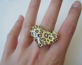 ♥ heart ♥ yellow leopard ring