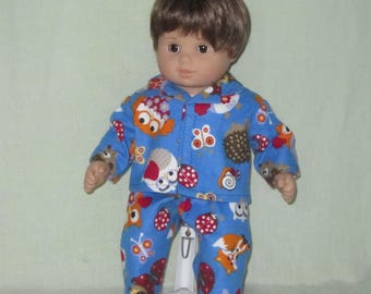 American Girl Bitty Baby Twin Boy Doll Pajamas Forest Animals