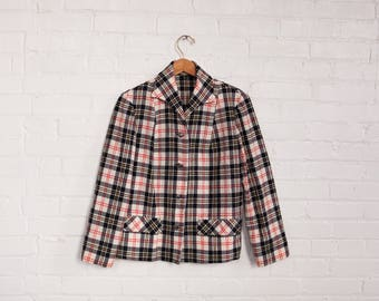 Matched Plaid Blazer - Pendleton Virgin Wool - Ivory Black Red Yellow Size Medium - Large