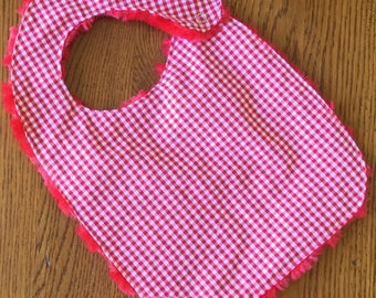 NEW...Red Gingham Minky Baby/Toddler Bib