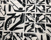 "Alexander Henry fabric collection, black and cream fabric,Pattern "" shoe review "" dated 2005 Quilting Fabrics, shoe collector, half yard cut"