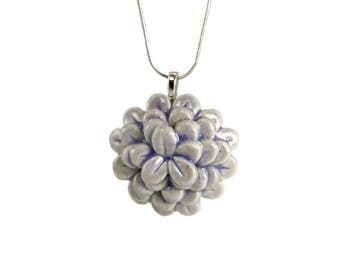 Lavender Porcelain Ceramic Zinnia Flower Pendant