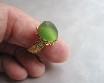 Kelly Green Sea Glass - Beach Glass Ring - Sea Glass Ring - Beach Glass Jewelry - Ocean Jewelry Gifts of the Sea - Real Pure Sea Glass