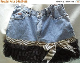 36% OFF Closet Cleaning SKIRT Denim Boho Romantic Shabby Chic Ruffles Glam Girl Cottage Chic Fun Flirty