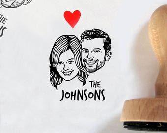 Custom portrait Personalized gift for couple save the date portrait engagement / Custom stamps / self inking / bachelorette bride mrs stamp