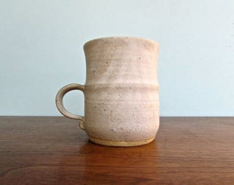 Studio Pottery Stoneware Mug, Silky Vellum Linen-White by Ceramicist Luthor Kruger