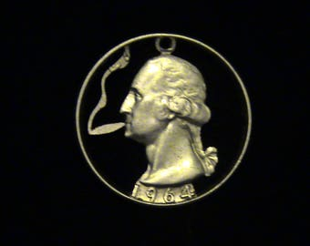 US - George Washington Puffing a Doobie - cut coin pendant - SILVER - 1964