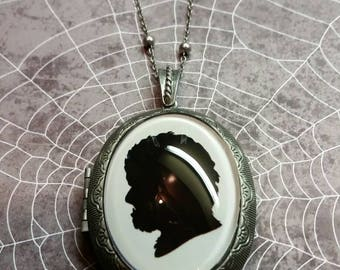 Antique silver Locket with the Wolfman Silhouette  face 40x30 glass cabochon necklace