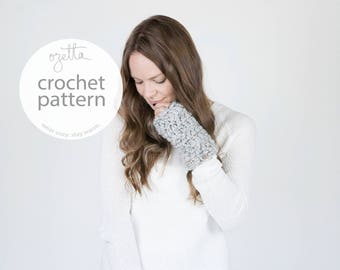 Crochet Pattern / Wrist Warmers, Fingerless Mittens / THE OXFORDS
