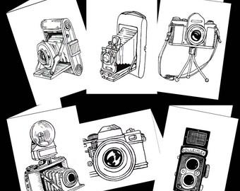 Vintage Camera Note Cards Set w Holder