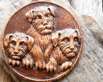 Vintage Syroco Scottie Plaque Wall Hanging Wood Composition Scottish Terrier Puppies Fall Decor