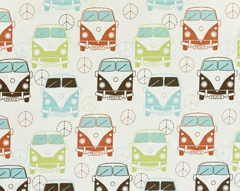 Premier Prints Love Bug Village in Natural Cotton Fabric 1 yard