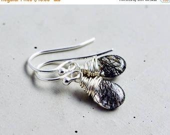 Summer Sale Tourmalinated Quartz Earrings, Gemstone Earrings, Dangle Earrings, Drop Earrings