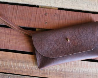 Dark Brown Leather Wristlet with Removable Card Wallet - In Blue Handmade